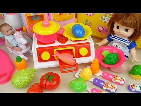 Baby doll Kitchen toys and cooking food toys baby Doli play