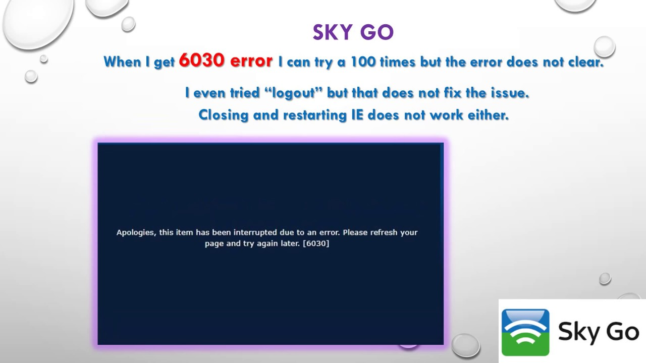 Sky Go Autorisierungsfehler 6030