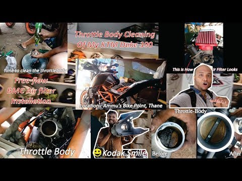Throttle Body Cleaning of KTM Duke390 || Installation Of BMC Air Filter || Free flow Air Filter
