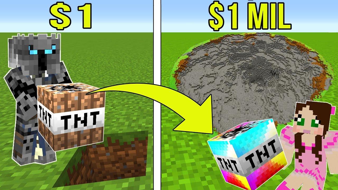 Minecraft: 1 DOLLAR TNT GEGEN 1.000.000 DOLLAR REGENBOGEN TNT !!! Crafting-Minispiel + video