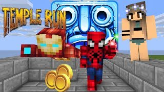 Temple Run : Spider men vs Iron men run for cute girl in real life  -Minecraft Animation