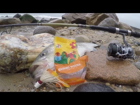 Bucktail and Gummi Worm Combo for Striped Bass