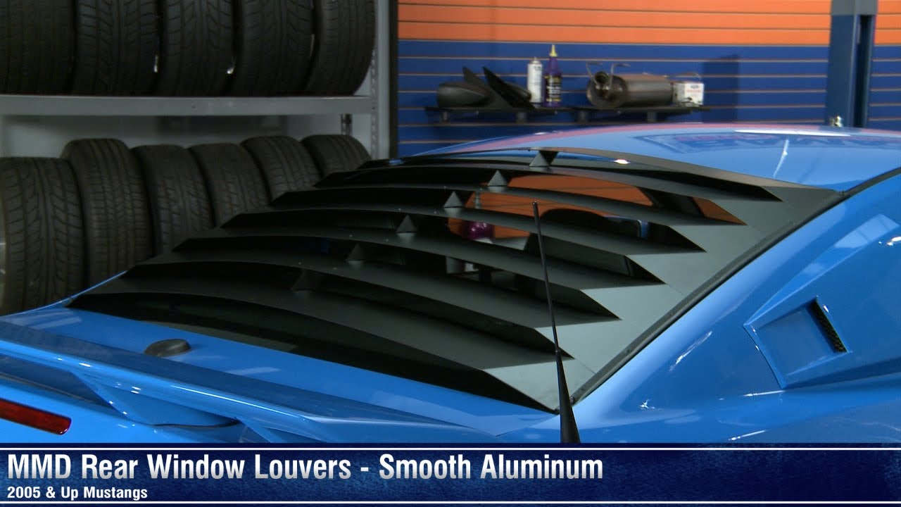mustang mmd rear window louvers smooth aluminum 05 14