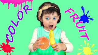 Yasmina Learns colors and names of fruits. Educational video compilation for Children