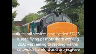 HD DRS 37423 GROWLS past pershore with caroline on 2z02 west ealing-reading 4/6/14