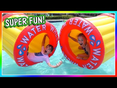 WATER WHEEL GAMES AT THE POOL | VLOG | We Are The Davises