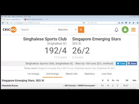 Singhalese Sports Club vs  Singapore Emerging Stars