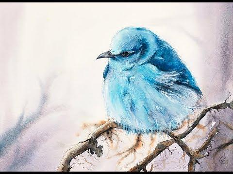 Blue Bird in Watercolors Painting Tutorial