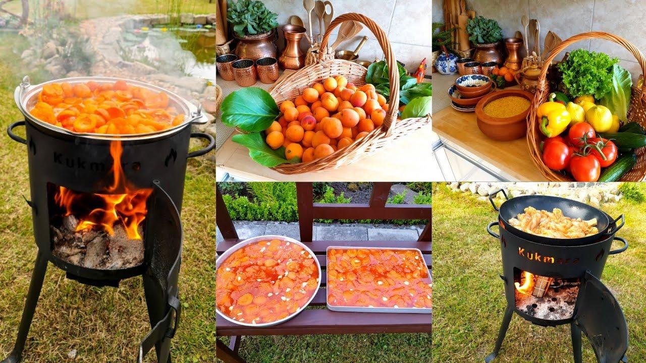 تجربة الطبخ على موقد النار في الطبيعة تحضير مربى المشمش وغداء بسيط تقليدي مباشرة من الموقد