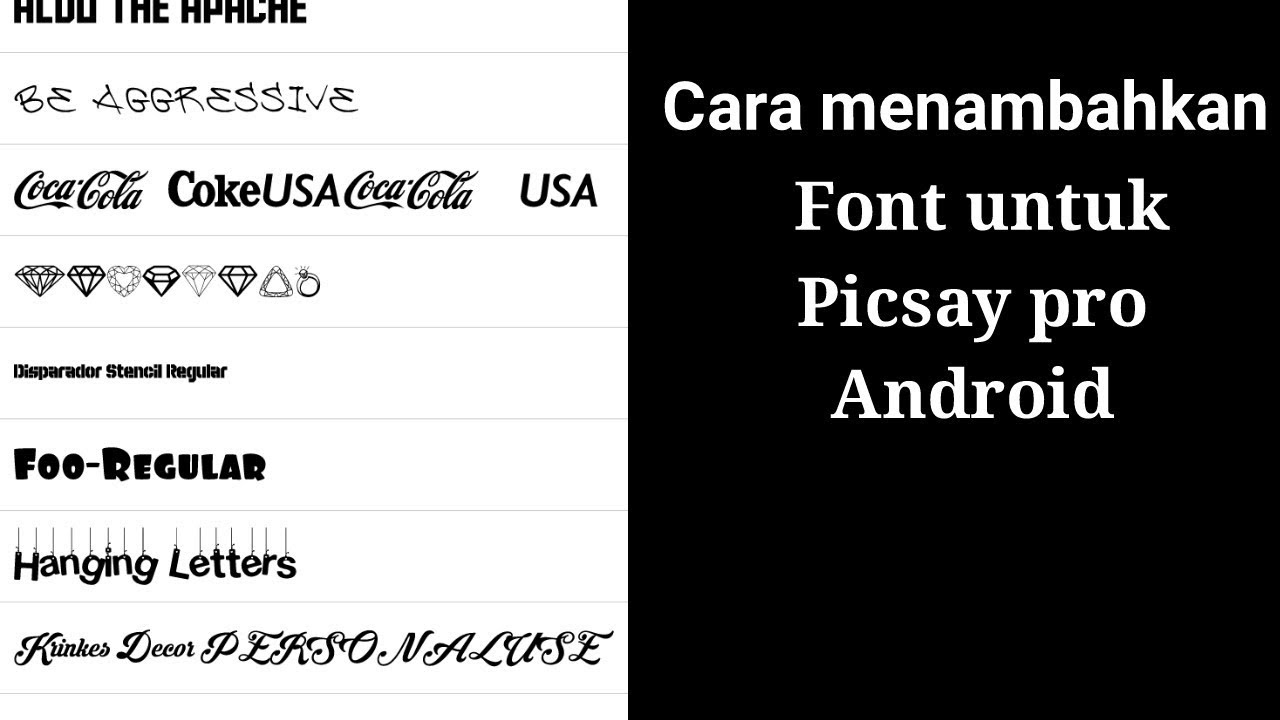 Tutorial Cara Pasang Dan Download Font Di Picsay Pro Android Youtube