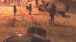 Драка возле кафе 20.01.2017 с камеры видеонаблюдения
