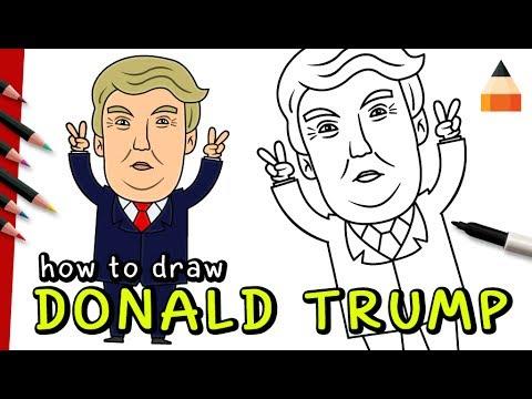 How To Draw Donald Trump   Cartoon Donald Trump