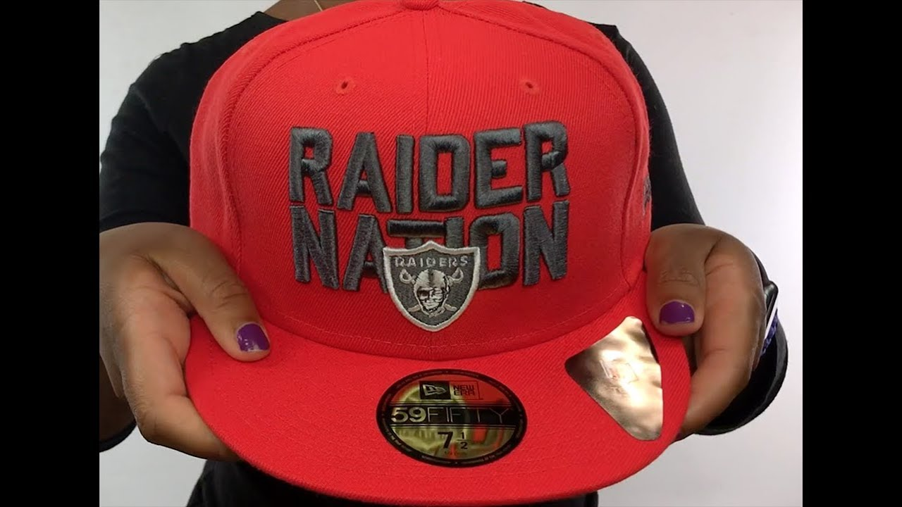 8c1388bb79bc93 Raiders 'RAIDER-NATION' Fire Red-Charcoal Fitted Hat by New Era ...