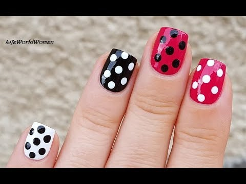 Polka Dot Nail Art 2 Pink Black White Dotticure Nails Youtube