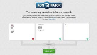 Free SEO Tools - find unlimited keyword ideas with Kombinator