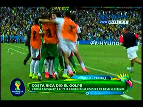Uruguay 1 Costa Rica 3 Mundial 2014 Grupo D 14-6