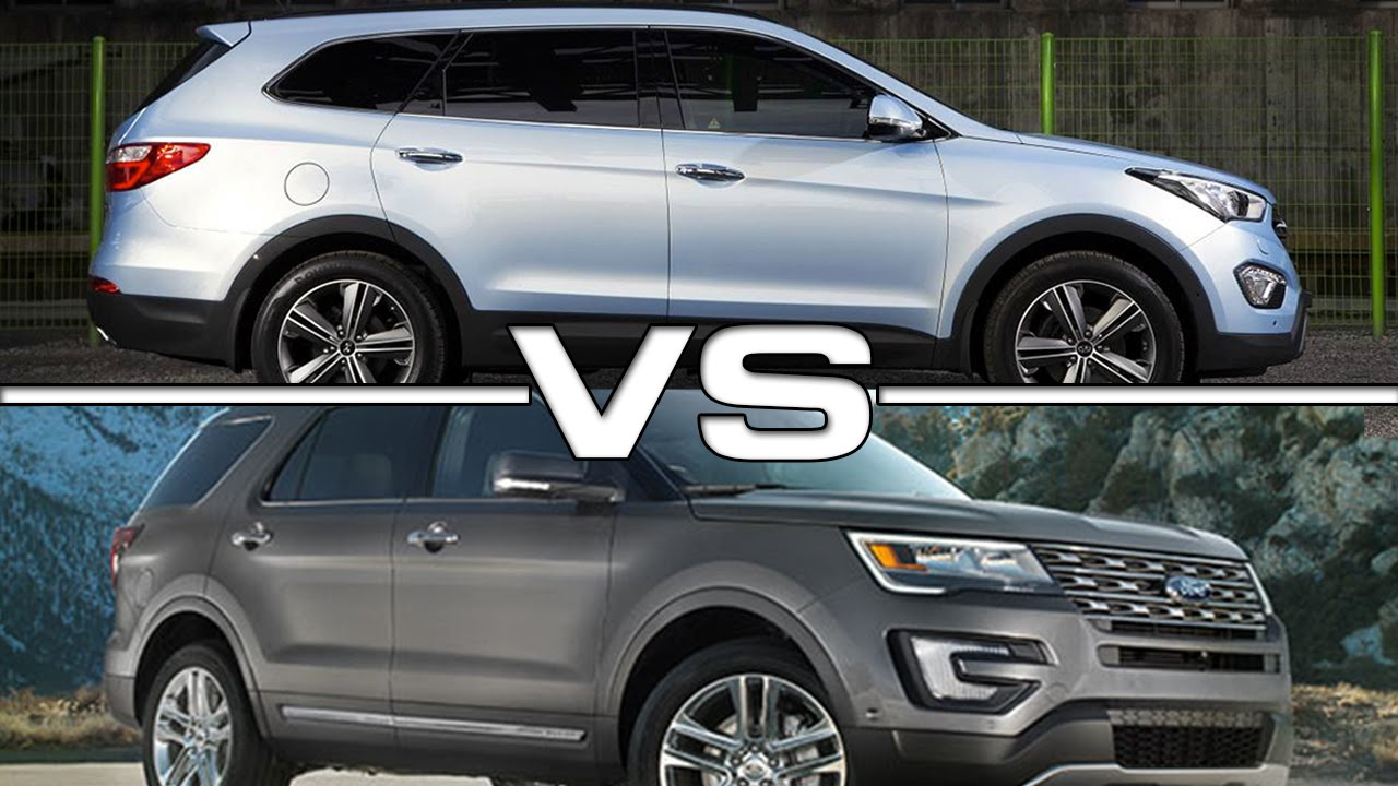 2015 Hyundai Grand Santa Fe Vs 2016 Ford Explorer Youtube