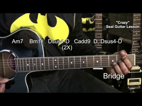 How To Play CRAZY By SEAL On Acoustic Guitar Lesson EricBlackmonGuitar