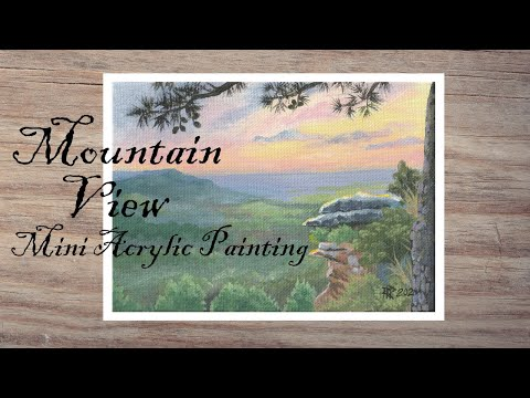 Mountain View   Acrylic Painting time-lapse   Mini Landscape Painting
