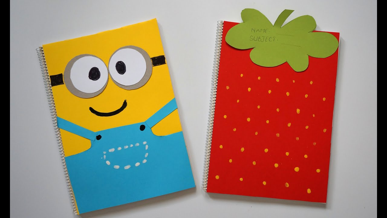 Diy notebook covers minions strawberry back to school for Back to school notebook decoration ideas