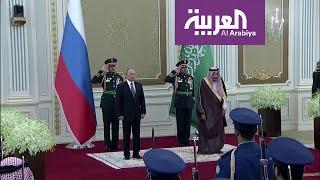 مراسم استقبال الرئيس الروسي في قصر اليمامة بالرياض