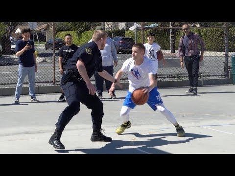 Professor vs Ex-D1 Police Officer 1v1... Cop kicks him off the court