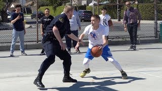 Professor vs Ex-D1 Police Officer 1v1... Cop kicks him off the court