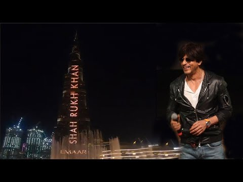 AWESOME! Shahrukh Khan lights up BURJ KHALIFA, DUBAI, Fantastic Celebration! First Actor in World!