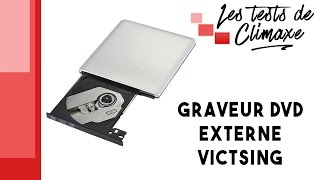 Test d'un graveur externe CD et DVD Victsing de couleur gris aluminium