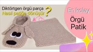 DIY- EN KOLAY ÖRGÜ PATİK - EASIEST KNITTED SLIPPERS EVER