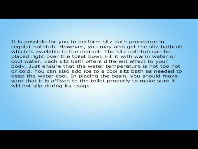 What is Sitz Bath Procedure