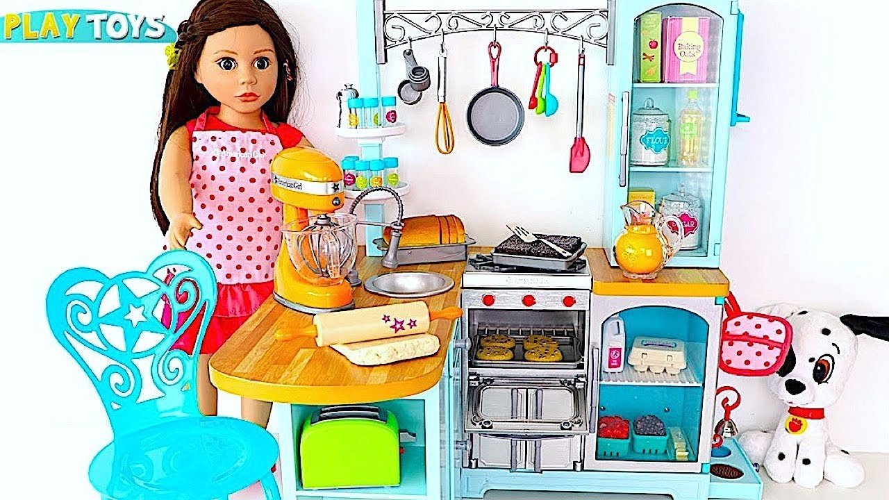 Baby doll kitchen toys play ag doll kitchen cooking baking play food