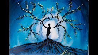 Video Tree Goddess Step by Step Acrylic Painting on Canvas for Beginners download MP3, 3GP, MP4, WEBM, AVI, FLV Juni 2018