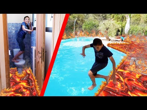 THE FLOOR IS LAVA CHALLENGE - THE FLOOR IS Lava! 🔥 - IN OUR HOLIDAY HOUSE