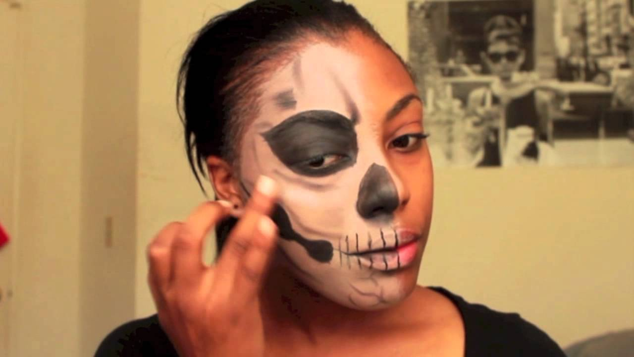 Halloween Tutorial Living Dead Half Face Makeup Youtube - Day-of-the-dead-makeup-tutorial-video