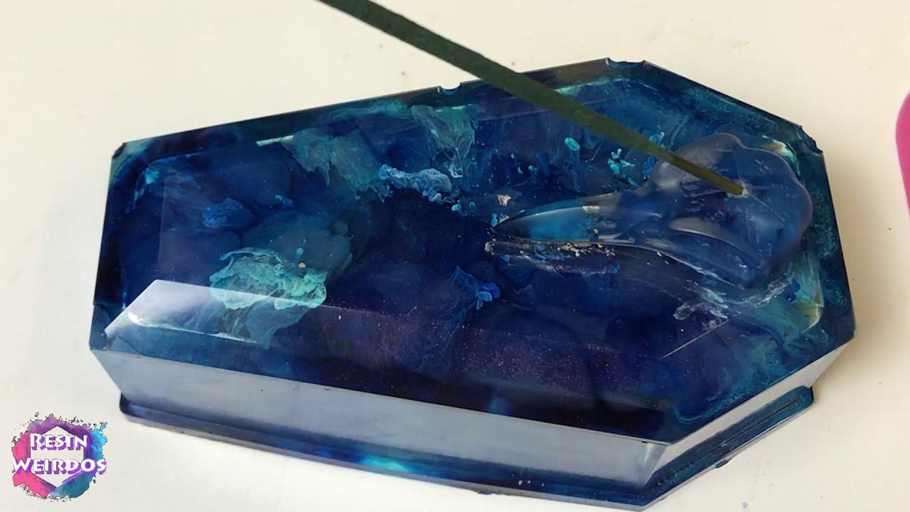 Alcohol Ink Resin Coffin Trinket / Ash box - Resin Incense burner - Resin Ideas
