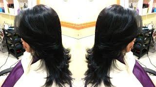 Corte cabelo longo degradê em camadas e franja lateral