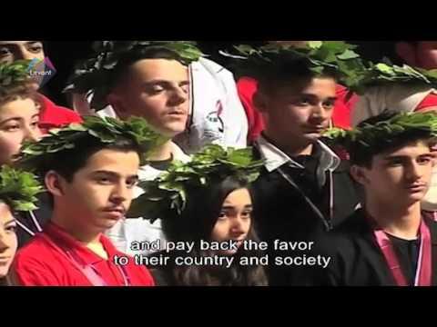 The Syrian First Lady Asma Al Assad awarding the Syrian Science Olympiad 2016 winners