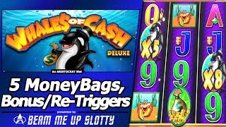 Whales of Cash Deluxe Slot - 5 MoneyBags, Re-Triggers, Super Free Games and more