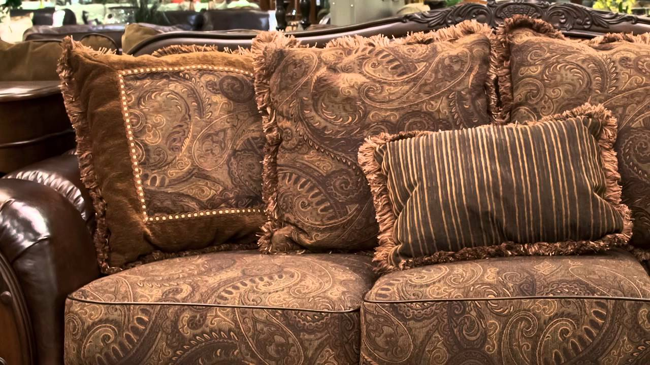 Antique Living Room Chair Styles Desk Attached To Ashley Fresco Sofa And Loveseat Set Youtube Nebraska Furniture Mart