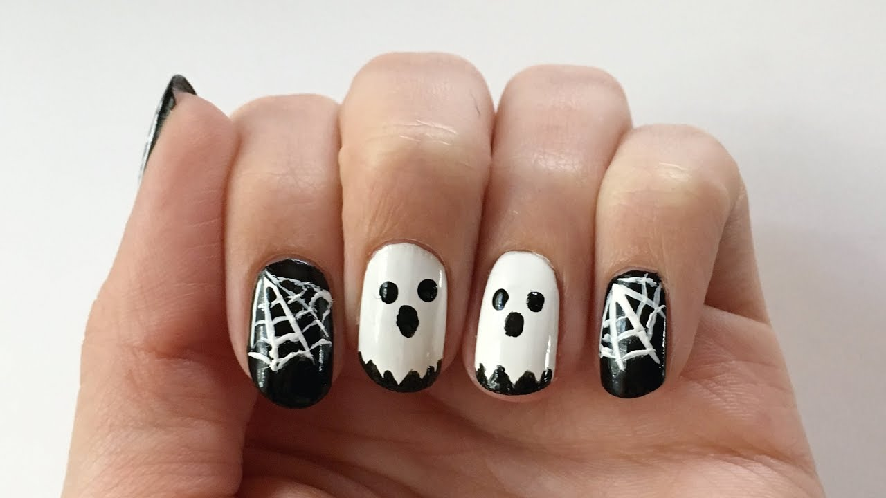 Halloween-Nageldesign Geister und Spinnweben | \'seni Nageldesign ...