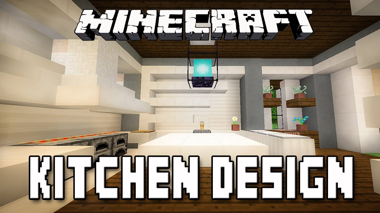 Minecraft tutorial modern kitchen design how to build a for Minecraft house interior living room