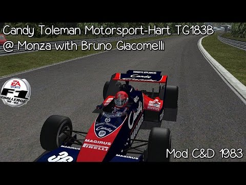 [F1C] Candy Toleman Motorsport-Hart TG183B @Monza with Bruno Giacomelli (Mod C&D 1983) [HD]