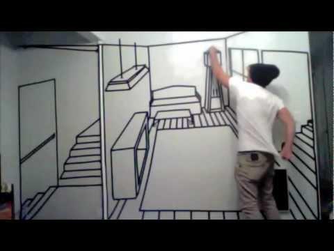 tape mural perspective art youtube. Black Bedroom Furniture Sets. Home Design Ideas