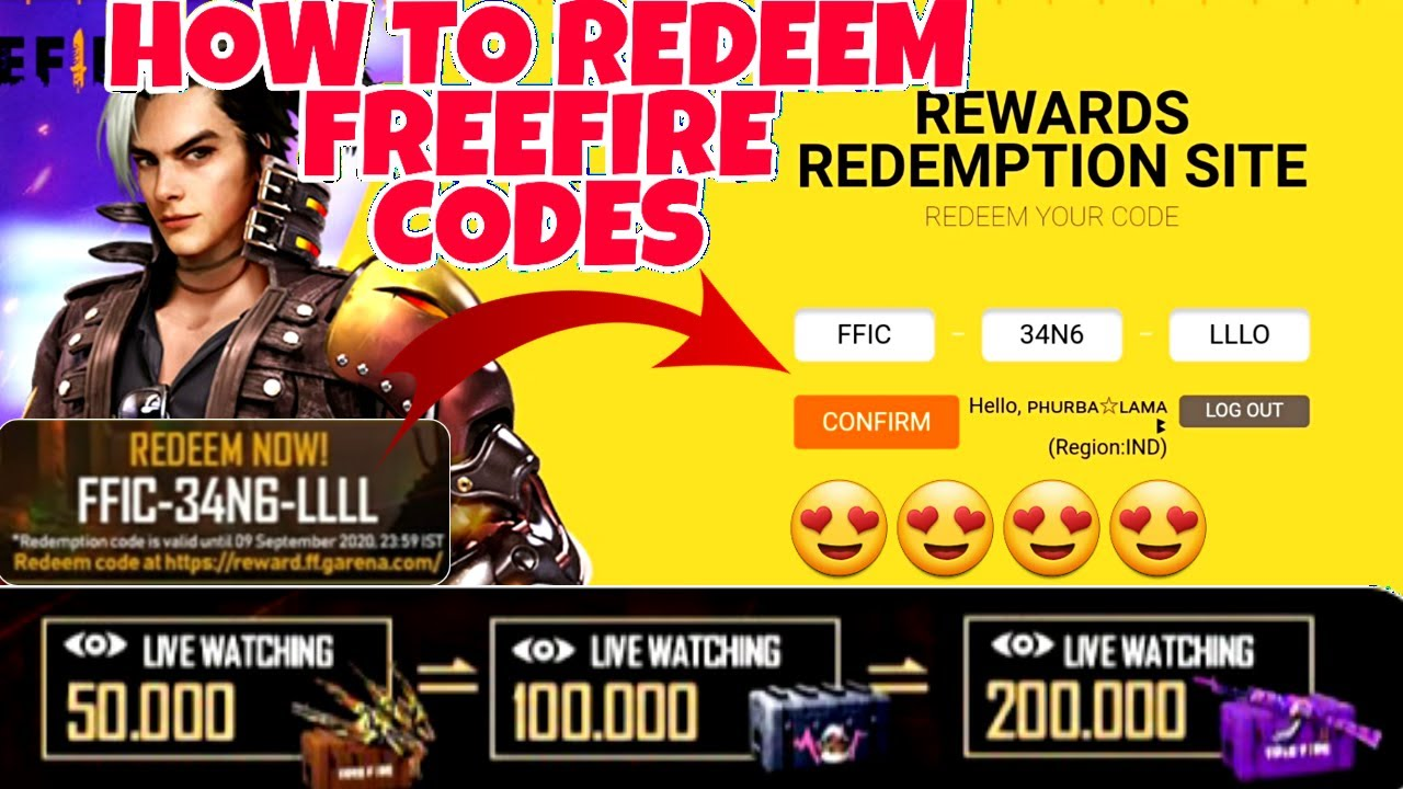 How To Redeem Free Fire Codes || Garena Free Fire Codes ...