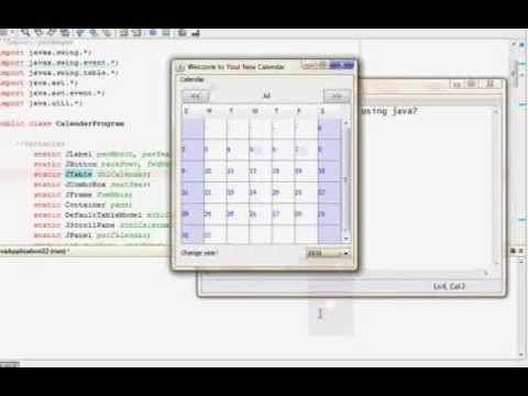 Making a Calendar using java