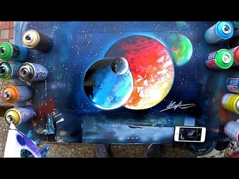 HOW to make planet UNDER planet and OVER planet 3D - SPRAY PAINT TUTORIAL by Skech