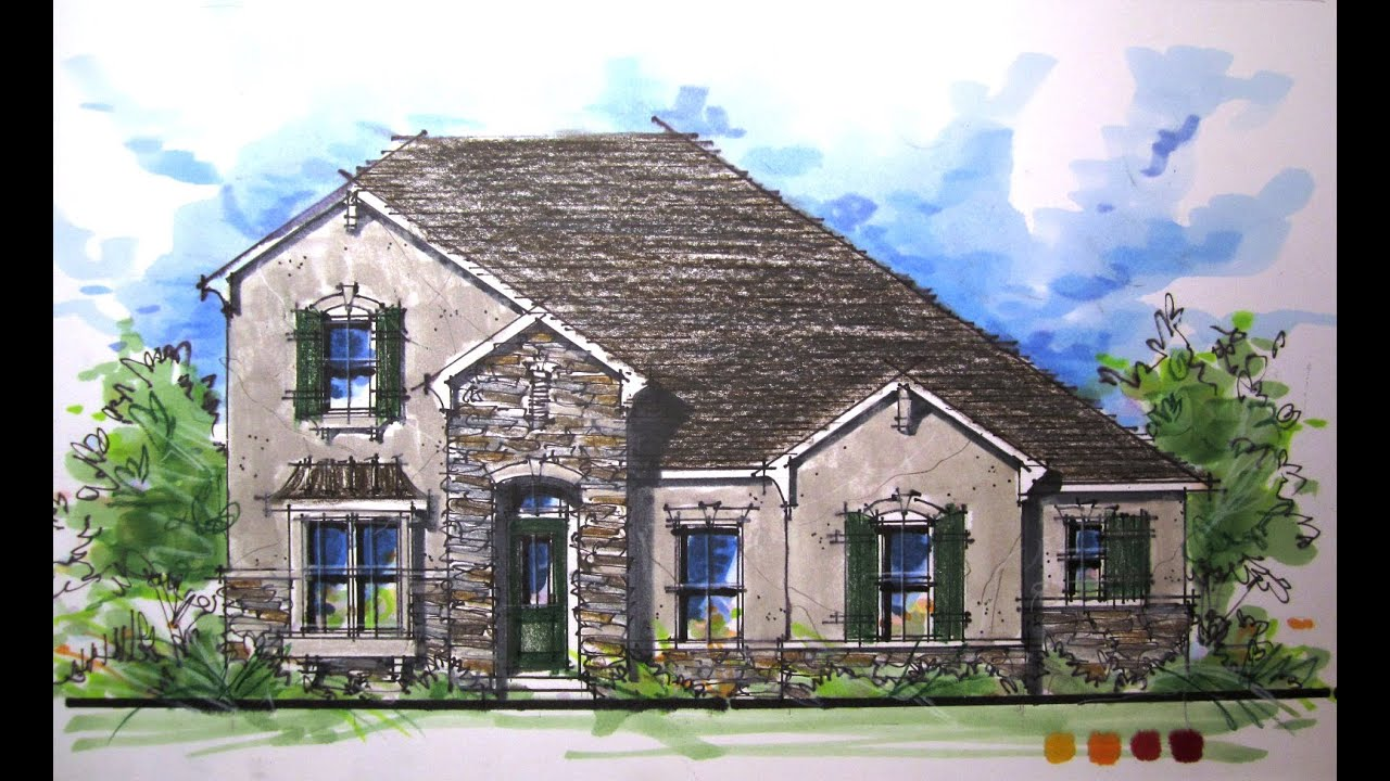 Architectural rendering series french country elevation French country architecture residential