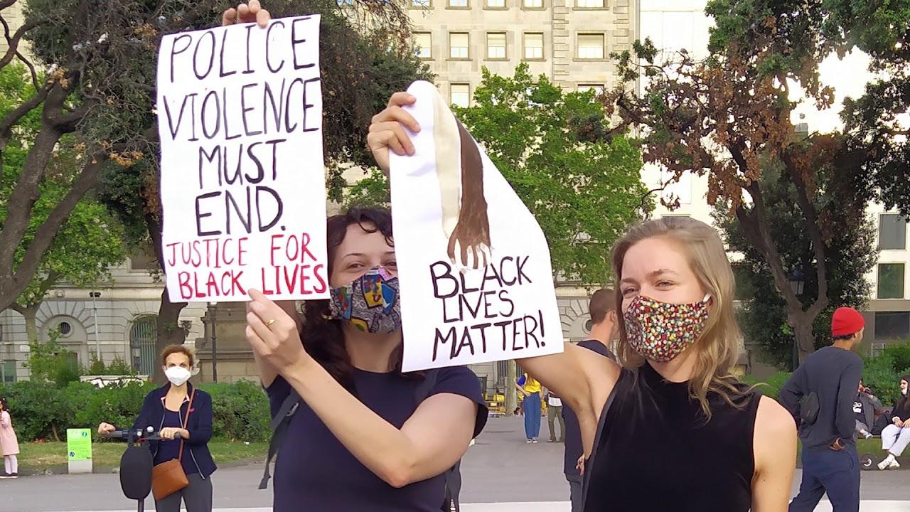 Vigil for George Floyd, against police brutality, Barcelona, Spain ...
