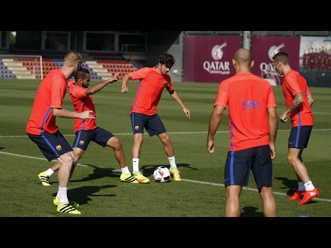 Entrenament previ al Sevilla FC - FC Barcelona